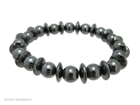 Hematite Disc & Round Beads Medium Chunky Bracelet